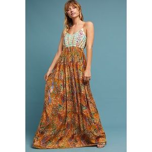 Anthropologie Raga Embroidered Parkland Maxi Dress